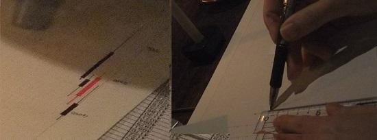 幅2ミリの方眼紙[ラクロシュ]を使って、ローソク足の手書きを始めましょう。